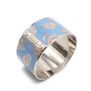Alexander McQueen Large Blue Enamel Skull Bracelet
