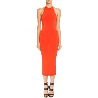 Balmain Orange Lace Up Halter Neck Midi Dress