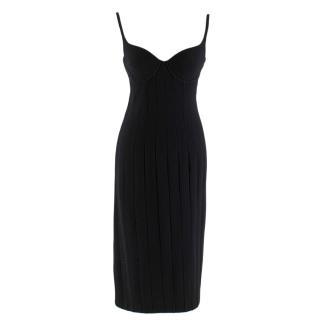 Bottega Veneta Black Wool Fitted Midi Dress