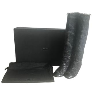 Dolce & Gabbana Patent Cap Toe Tweed Boots