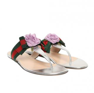 Gucci Grosgrain Webstripe Floral Sandals