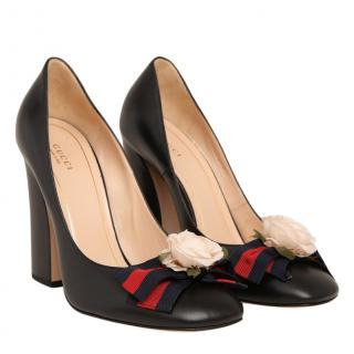 Gucci Black Leather Pumps With Floral Webstripe Bow