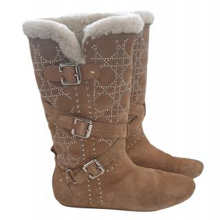 Dior Shearling Cannage Studded Boots