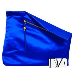 Diane Von Furstenberg Blue Satin Foldover Clutch