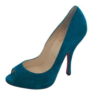 Christian Louboutin Marine Blue Peep-Toe Pumps