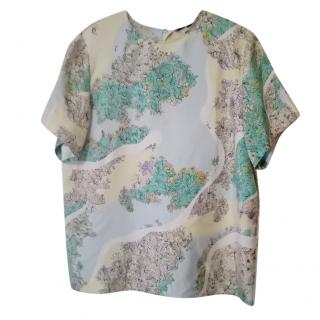 Emilio Pucci Silk Floral Print Boxy Top