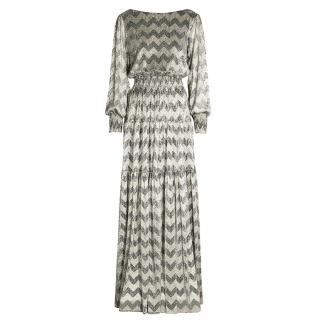 Ba&Sh Grace Zigzag Metallic Maxi Dress