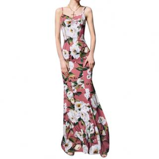 Dolce & Gabbana Rose Pink Floral Print Fishtail Gown