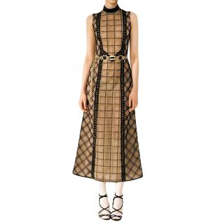 Alessandra Rich Black Check Lace Dress With Black Macrame Chains