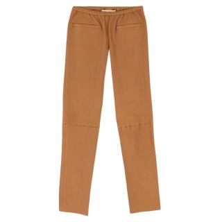 Emilio Pucci Tan Lambskin Leather Pants
