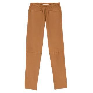 Emilio Pucci Tan Lambskin Leather Pants