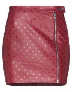 Zoe Karssen Red Star Embossed Goatskin Mini Skirt