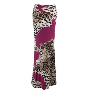 Roberto Cavalli Purple Leopard-print Maxi Skirt