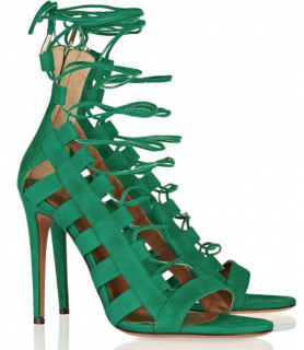Aquazurra Emerald Amazon Cutout Suede Sandals