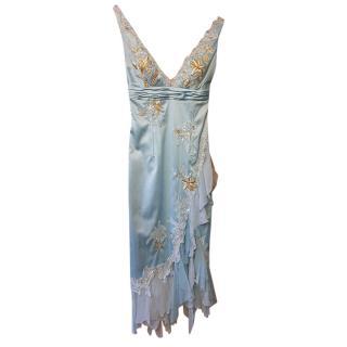 Mandalay Pale Blue Embellished Asymmetric Dress