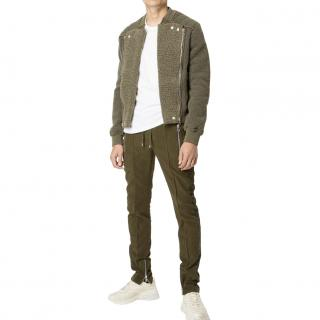 Balmain shearling lined bomber jacket