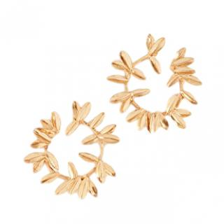 Oscar de la Renta Dot Leaf Hoop Earrings