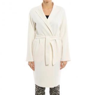 Max Mara Angora Wool Blend Wrap Coat