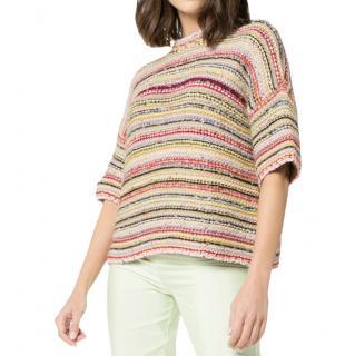 GANNI Brookhaven stripe knit short sleeved jumper