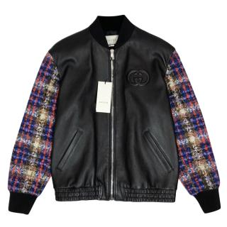 Gucci Black Leather Bomber Jacket With Tweed Sleeves