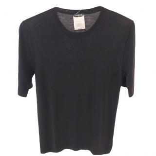 Chanel Black Lightweight Wool & Cashmere crewneck sweater top SZ38