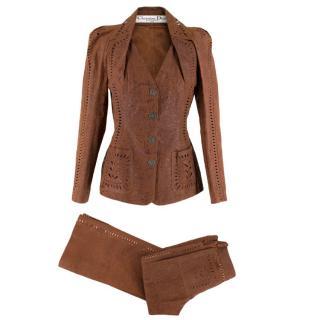 Christian Dior Vintage Brown Laser Cut Pig Skin Suit