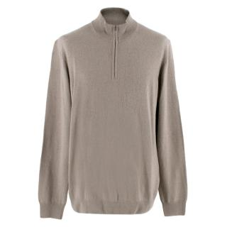 Hackett Grey Merino Wool and Cashmere Blend Half Zip Sweater