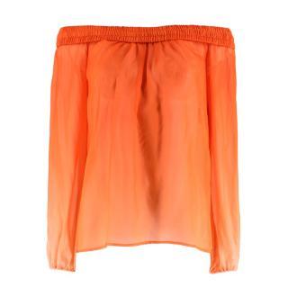 Versace Orange Silk Off-shoulder Top
