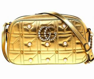 Gucci Gold Faux Pearl Studded Marmont Camera Bag