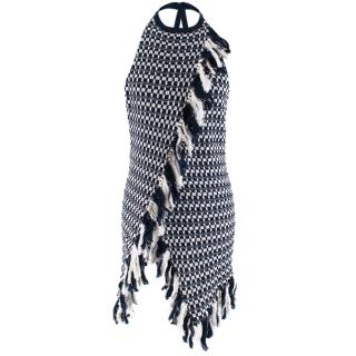 Rosie Assoulin Blue and White Knit Halterneck Fringed Top