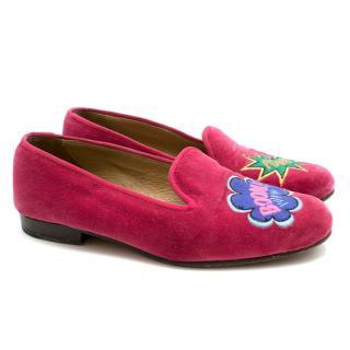 Stubbs & Wootton Pink Velvet Boom Pow Motif Slippers