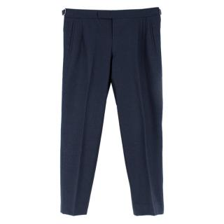 Hardy Amies Navy Wool Tailored Fit Trousers