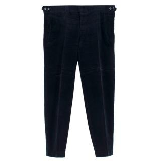 Hardy Amies Navy Corduroy Tailored Fit Trousers