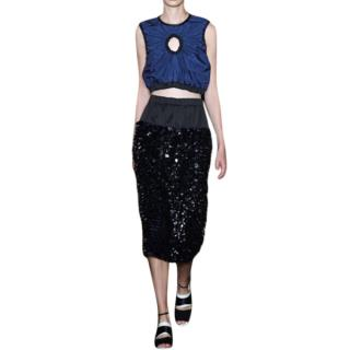 Sportmax Black Sequin Midi Skirt