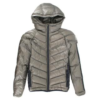 Moncler Kid's 14Y Silver Quilted Puffer Jacket