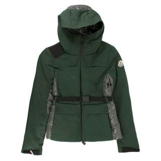 Moncler Green Waxed Puffer Panel Jacket With Buckle Belt