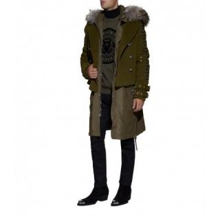 Balmain military green double breasted pea coat fur hood parka