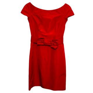 Valentino Red Silk Sheath Dress