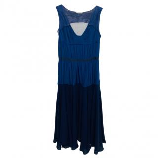Nina Ricci Blue Silk Plated Sheer Paneled Dress