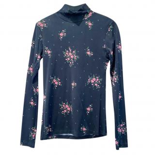 Alexa Chung Black Floral Print HIgh Neck Top