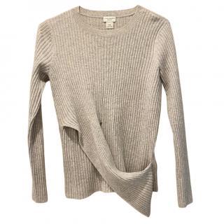 Club Monaco Ribbed Cashmere Knit Wrap Style Hem Jumper