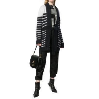Balmain Mohair lend striped belted cardi-coat