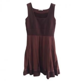 Prada Brown Tiered Wool Blend Dress