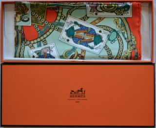 Hermes playing cards printed silk scarf 41x41 cms
