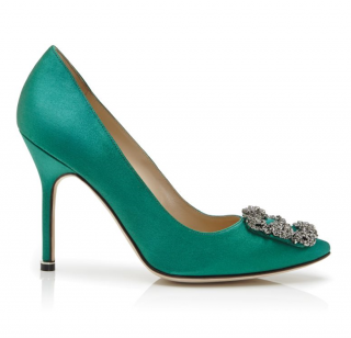 Manolo Blahnik Green Satin Hangisi Pumps 105mm 39 EU