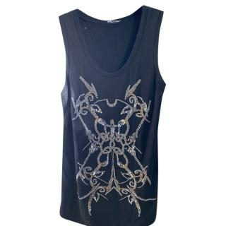 Balmain Black Embroidered Tank Top