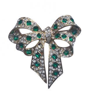 Nina Ricci Vintage Crystal Bow Brooch