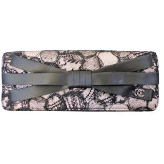 Chanel Lace & Satin Bow Flap Clutch