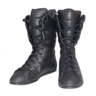 CHanel Black Leather Lace-Up High Tops