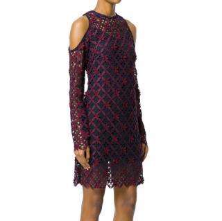 Self Portrait floral grid cold-shoulder dress
